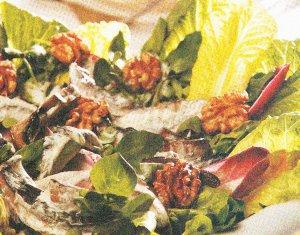 1- Ensalada verde con champiñones asados y nueces