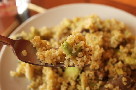 3- Bulgur de puerro y manzana con aliño de girasol y pimiento